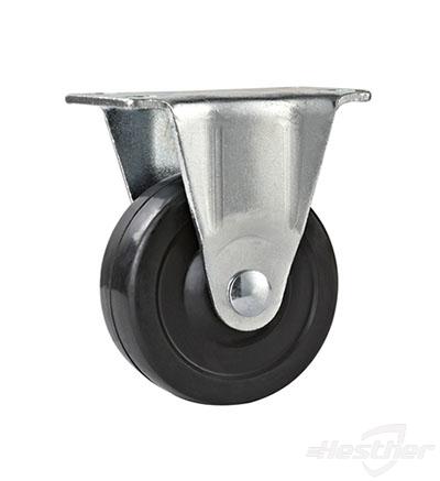 fixed light duty black rubber caster