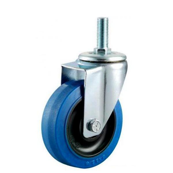threaded blue elastic rubber caster