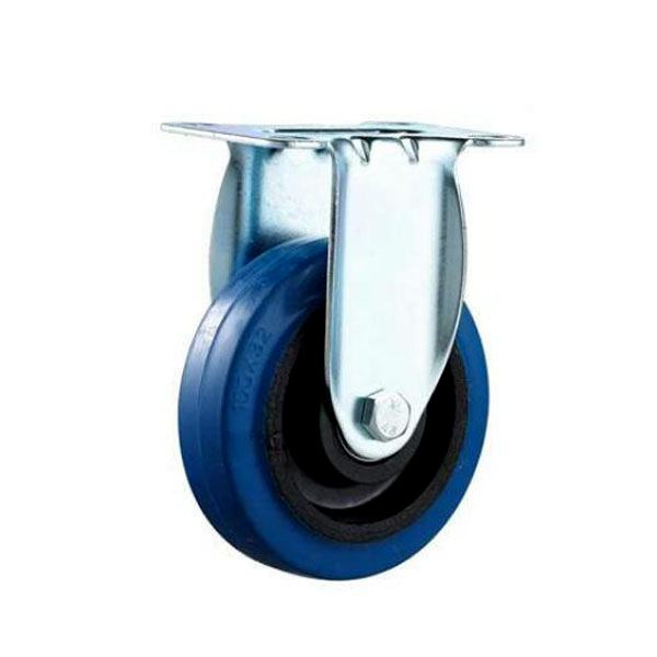 fixed blue elastic rubber caster