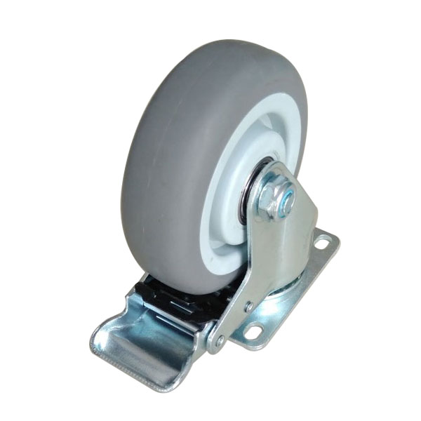 plate tpr caster with brake