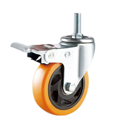 threaded stem orange pu caster
